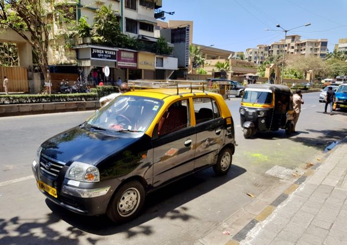 Metered black-and-yellow taxis are common in the city.