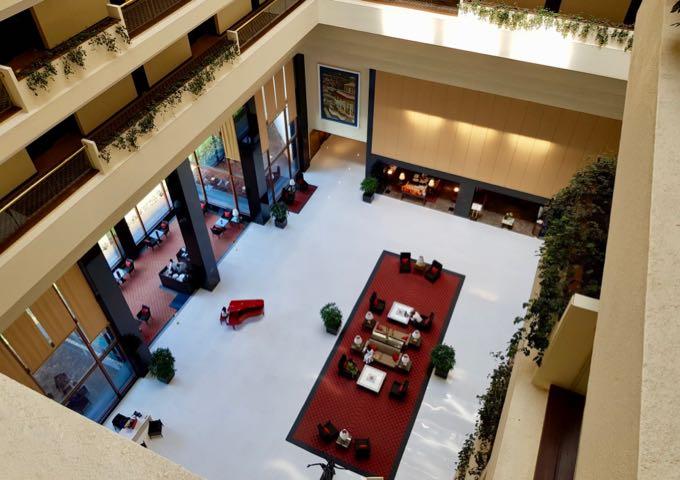 Expansive lobby inside the atrium.