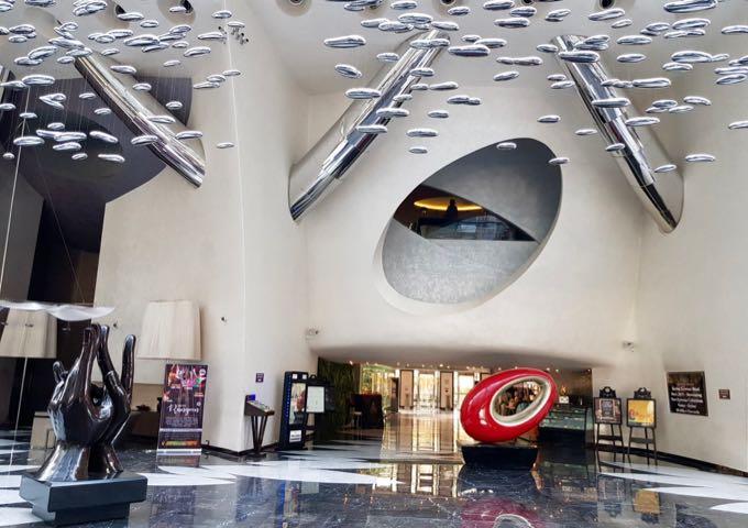 The lobby has a minimalist design.