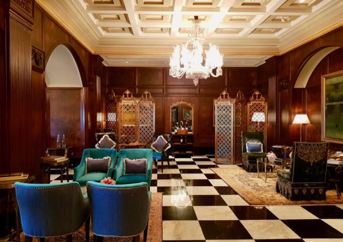 Colonial-style Harbour Bar at the Taj Mahal hotel.