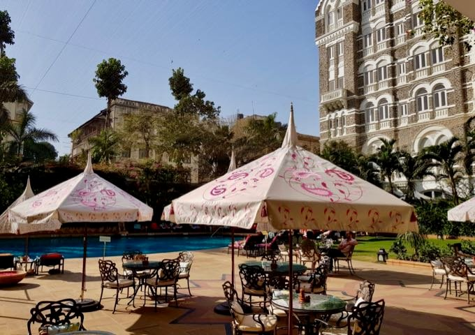 Pool deck at the Taj Mahal hotel.