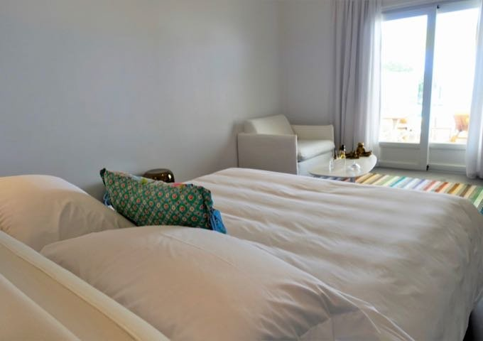 The suite has a bright open-plan layout.