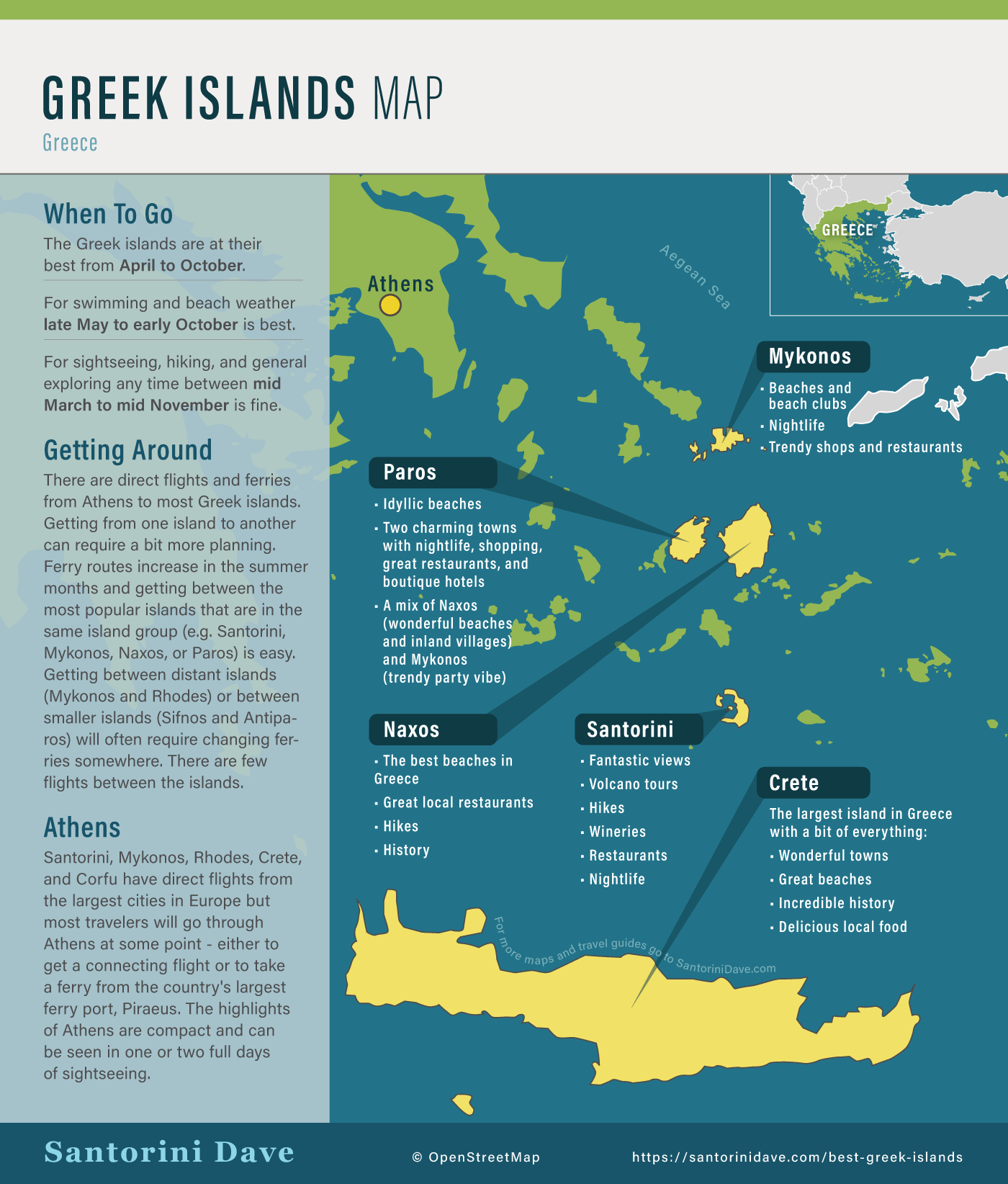 Map showing the best Greek Islands to visit that are easy to get to from Athens