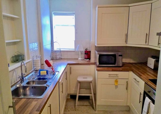 The apartment has a fully-equipped kitchen.