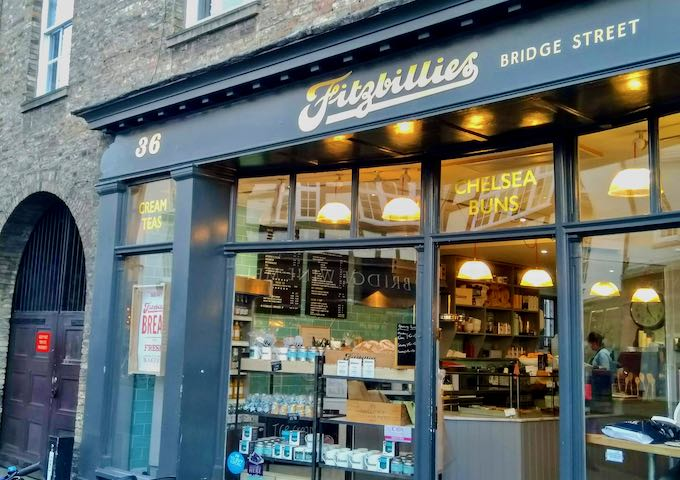 Fitzbillies has an outlet opposite Cambridge Wine Merchants.