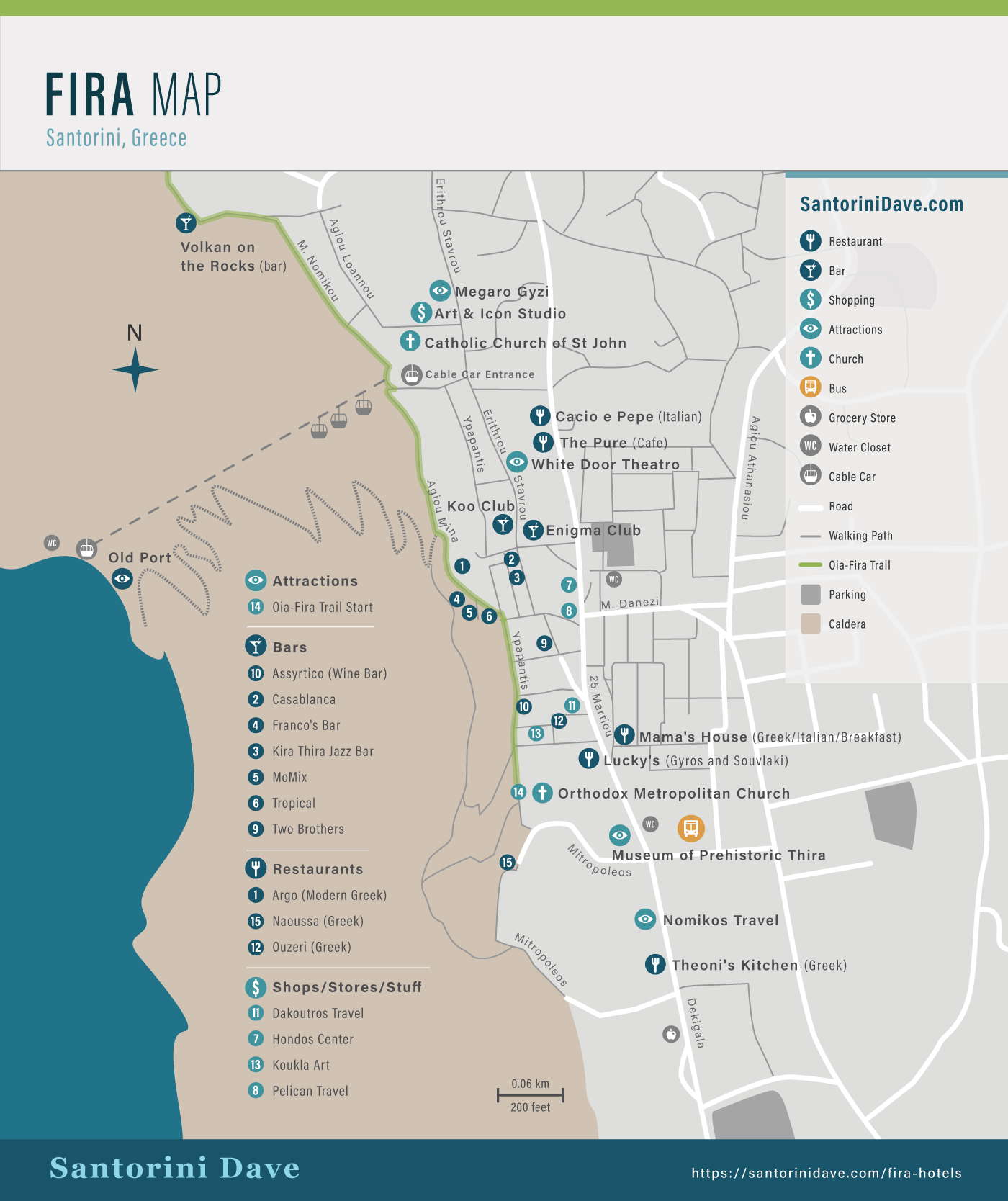 Map of Fira, Santorini, showing bars, restaurants, and activities