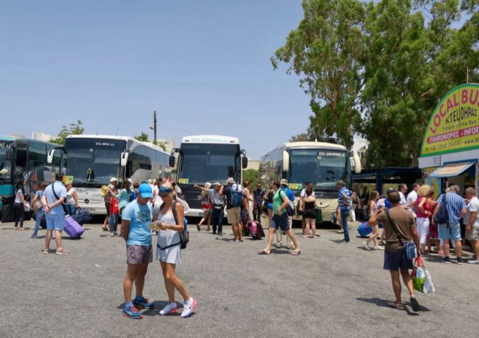 A row of buses in Fira bus station, Santorini