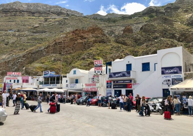 A row of businesses at Santorini Ferry Port