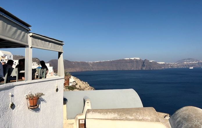 Good restaurant in Oia at the end of hike.