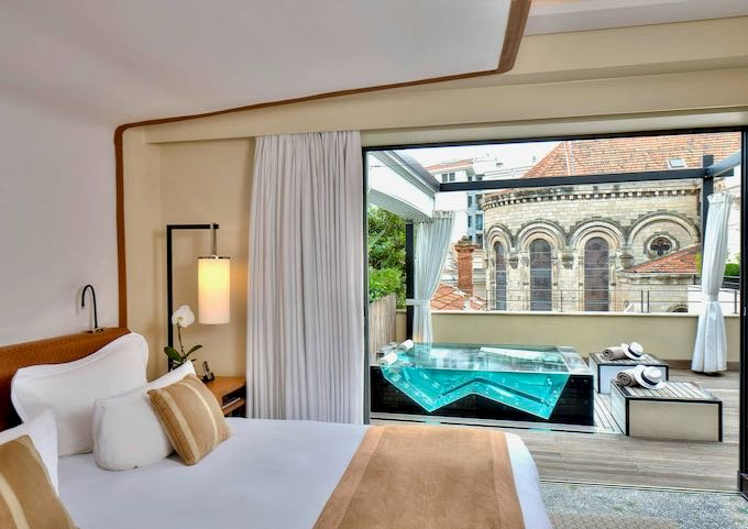 The Terrace Suite has a private terrace with a jacuzzi.