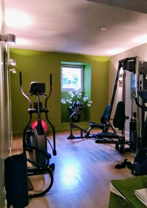 The small gym is in the basement.