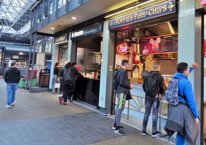 Poppie's Fish & Chips outlet within the market is popular for takeaway.