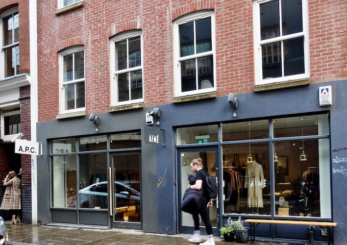 A.P.C. and Aimé are chic French boutiques nearby.