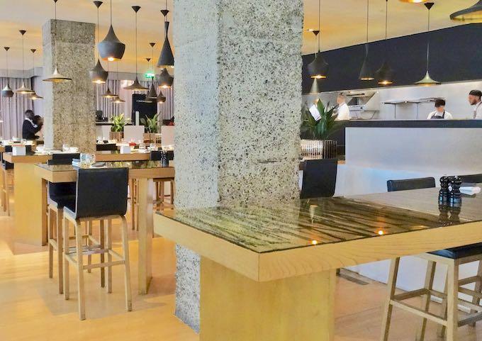 The restaurant has a contemporary design.