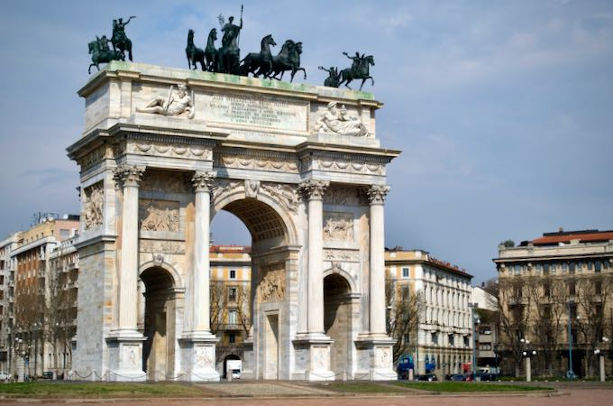 Arco della Pace monument on a sunny day