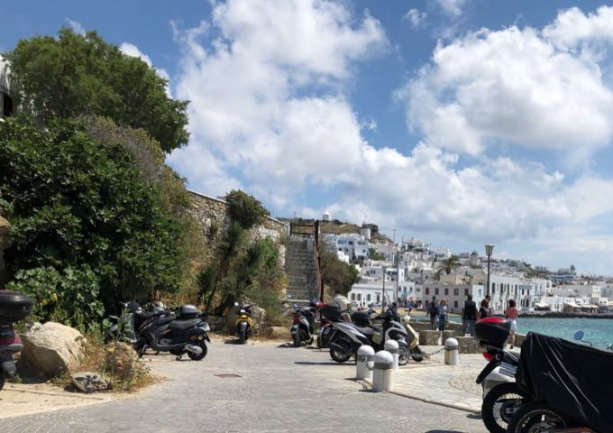 Stone stairway leading up into Mykonos Town streets