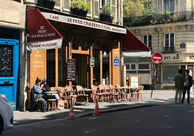 Le Petit Chateau d'Eau is great for beer, coffee, and meals.