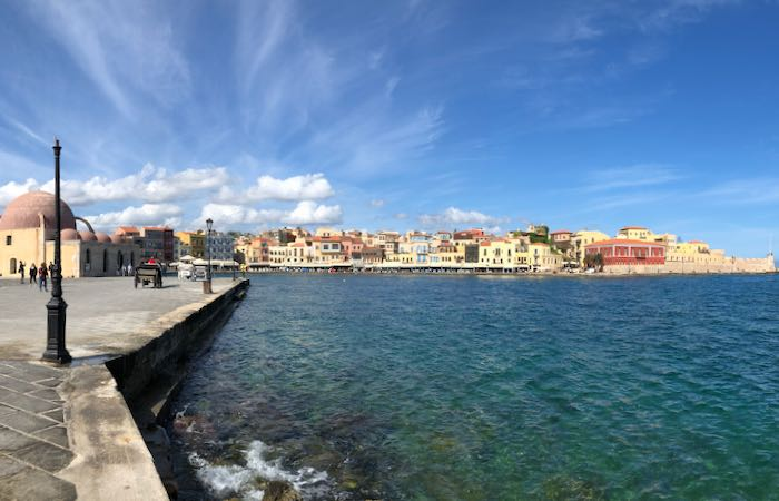Seafront harbor town of Chania, Crete