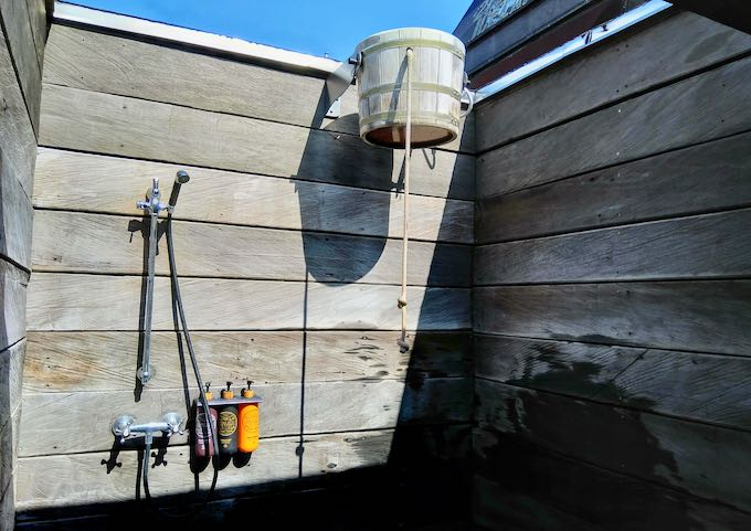 The spa also features a bucket shower.