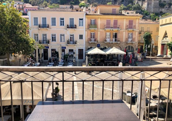 View down over marble-paved Syntagma Square in Nafplio, from a balcony in Xenon InnNafplio