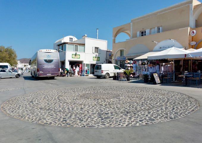 Departing the Oia bus station