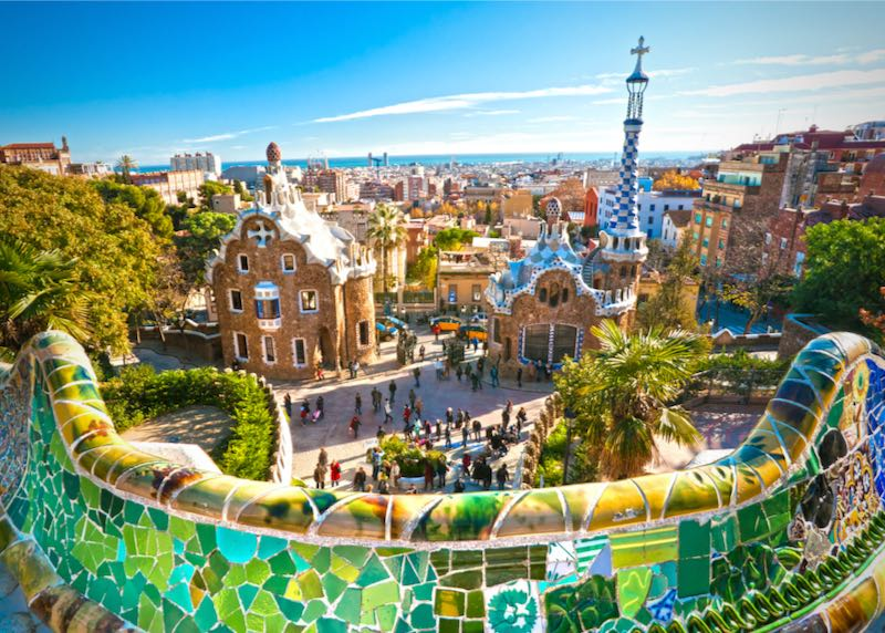 Fanciful and colorful buildings in Gaudi's Park Güell in Barcelona, Spain
