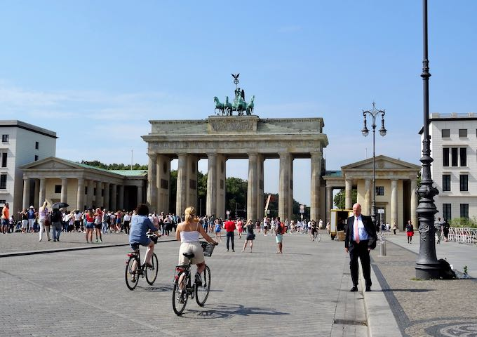 The Brandenburg Gate is close to the Reichstag, the Holocaust Memorial, and the Tiergarten.