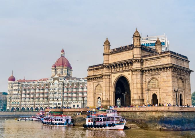 The Gateway of India and Taj Mahal Palace as seen from the Arabian Sea in Mumbai, India