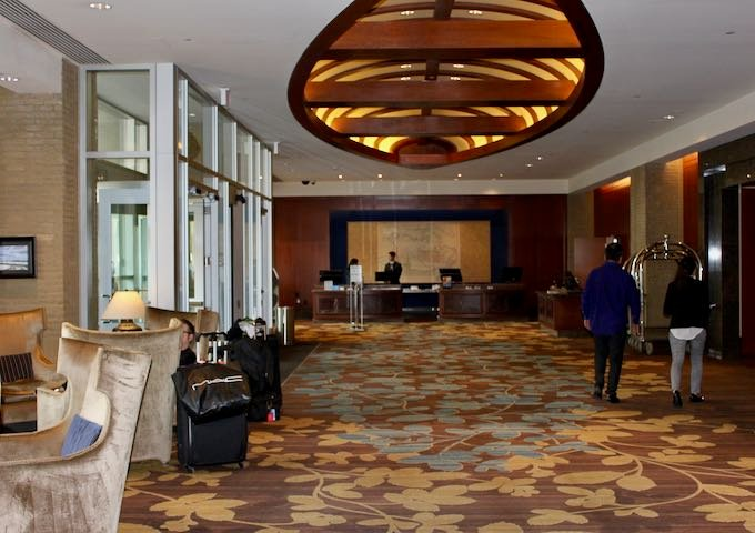 The lobby looks plush and welcoming.