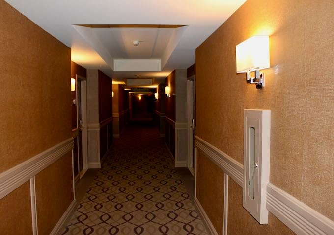 The corridors are beige in color.