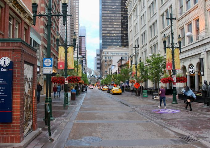 Stephen Avenue is a large pedestrian mall on 8th Avenue SW.