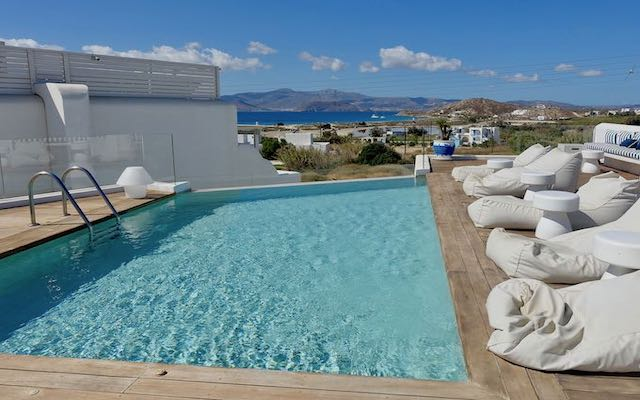 The rooftop pool at 18 Grapes in Naxos