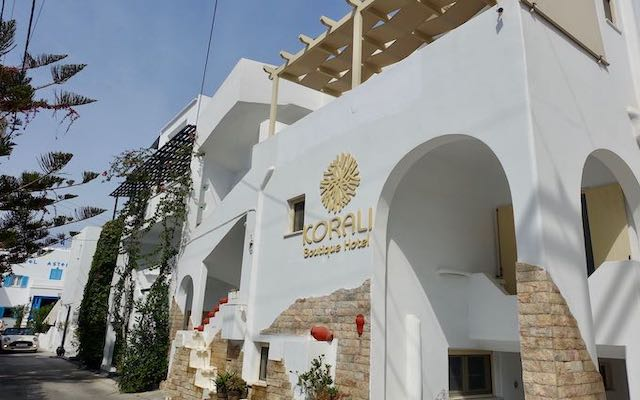 The exterior of Korali Boutique Hotel in Naxos