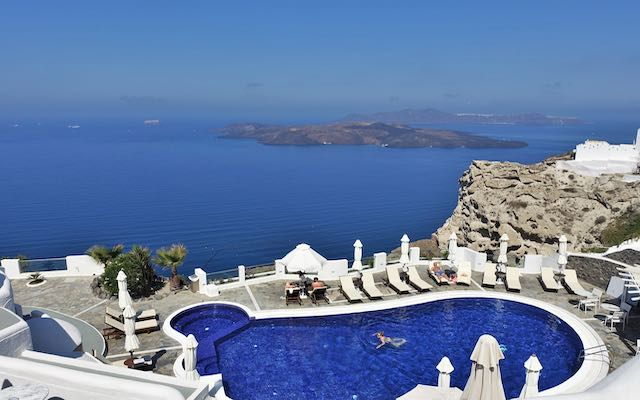 The main pool at Volcano View Hotel in South Fira