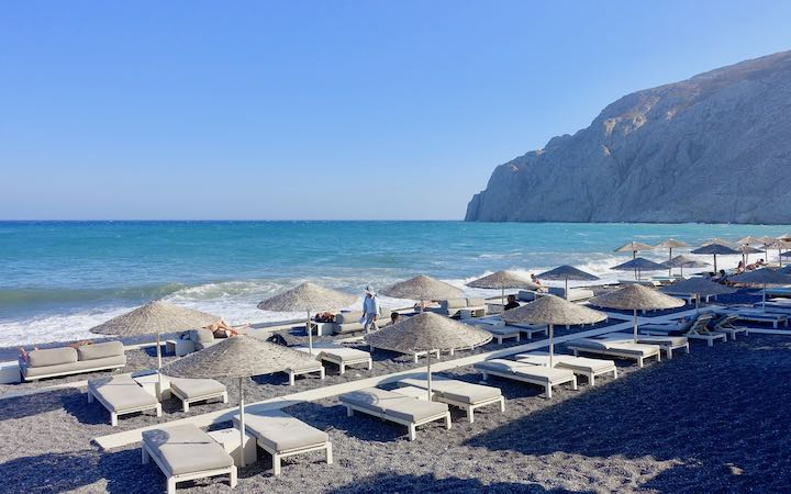 Kamari is the most popular beach in Santorini