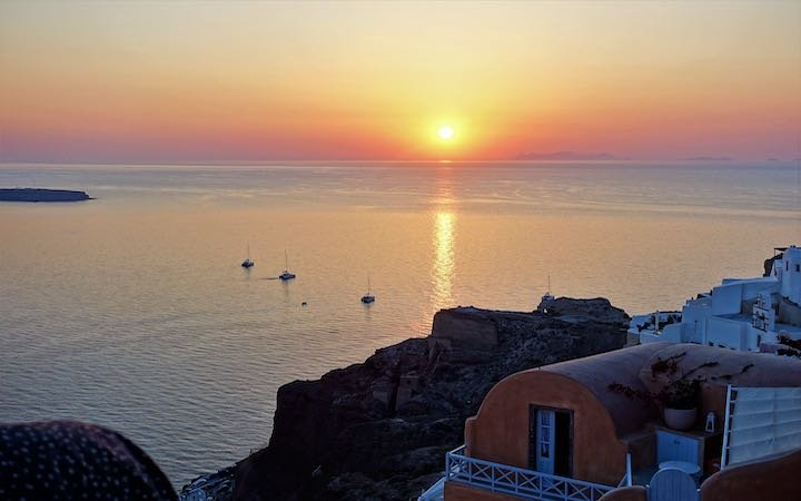 Sunset view from the Oia castle ruins