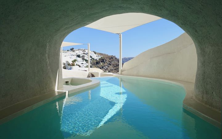 A cave pool at Mystique hotel in Oia