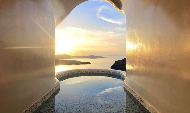 Sunset view from the cave jacuzzi at Celestia Grand's Sapphire Villa