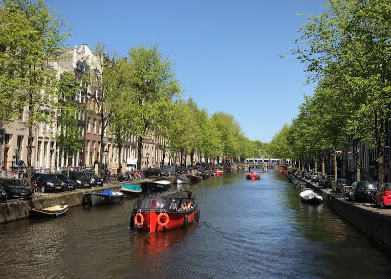 A tour boat floats down a tree-lined canal in Amsterdam