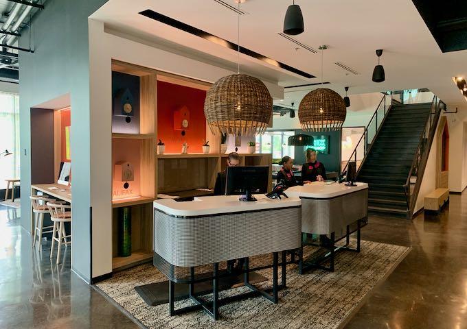 The sleek lobby is very bright.