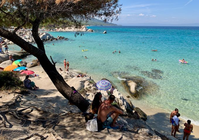 Vacationers sitting in the shade of a tree in a rocky beach on Toroni Beach in Halkidiki