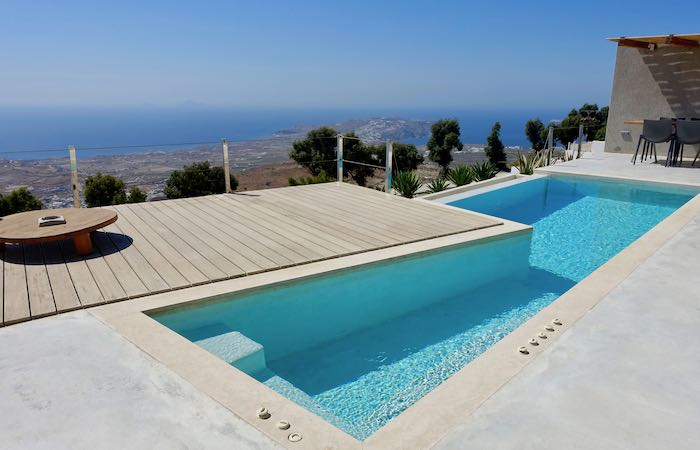 a private pool and view at Santorini Heights