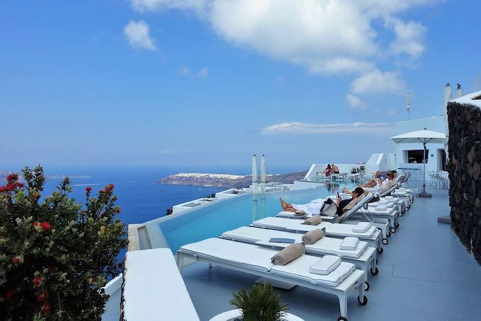 Pool and view at Grace Santorini