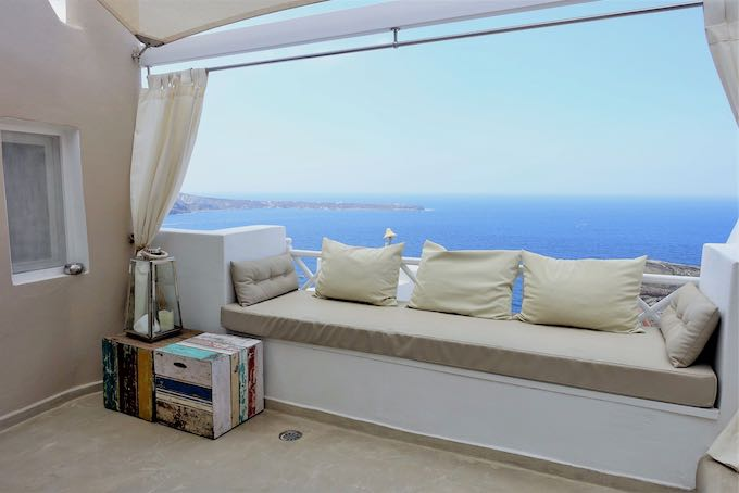 Private terrace at Oia Castle Luxury Suites
