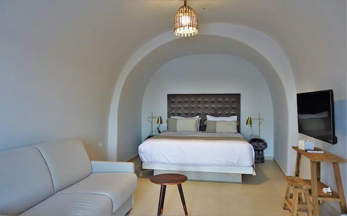 One bedroom of the Aphrodite Villa
