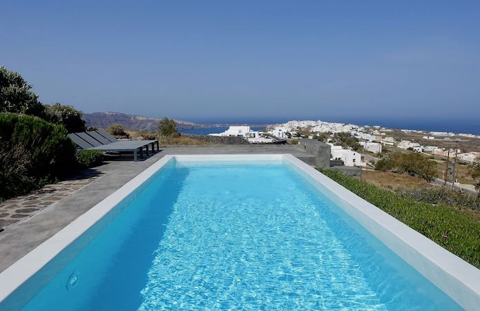 A private pool and view from 270 Oia's View