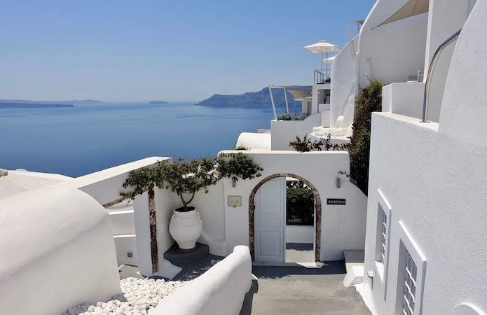 The entrance and view of Canaves Oia Hotel
