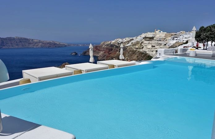 Main pool and cabanas at Kirini Santorini
