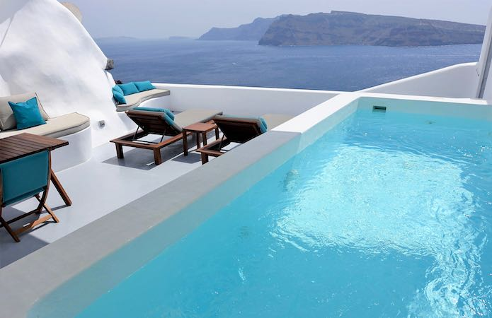 A private pool and caldera view from Maregio Suites