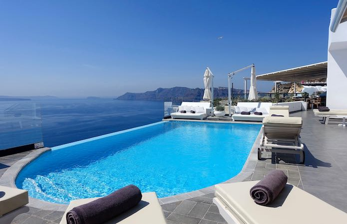 The main pool at Santorini Secrets